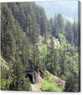 Mountains With Railroad And Tunnels  Canvas Print