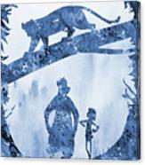 Mowgli, Baloo And Bagheera-blue Canvas Print