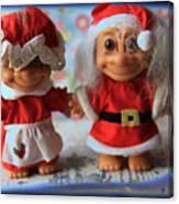 Mr And Mrs Santa Troll Canvas Print