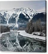 Mt Currie Reflected In Lillooet River Pemberton Canvas Print