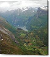 Mt. Dalsnibba And The Serpentine Descent To The Geirangerfjord Canvas Print