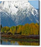 Mt Moran From Ox Bow Bend Canvas Print