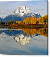 Mt Moran From Ox Bow Bend On A Fall Morning Canvas Print