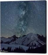 Mt Rainier Milkway Climbers Canvas Print