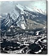 Mt Rundle Aerial View Canvas Print