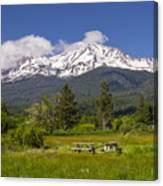 Mt Shasta With Picnic Tables Canvas Print