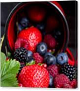 Mug With Fresh Berries Canvas Print