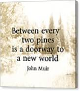 Muir Quote On Sepia  Canvas Print