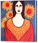 Mujer Con Flores Canvas Print