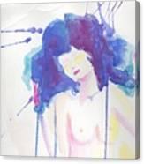 Mujer En Acuarela Canvas Print