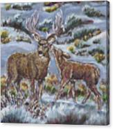 Mule Deer Lovers From River Mural Canvas Print
