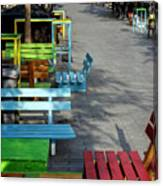 Multi-colored Benches On The Pedestrian Zone Canvas Print