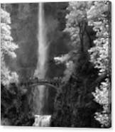 Multnomah Falls Bw Canvas Print