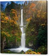 Multnomah Falls In Autumn Colors -panorama Canvas Print