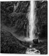 Multnomah Falls In Black And White Canvas Print