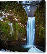 Multnomah Falls With Ice Canvas Print