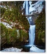 Multnomah Falls With Snow Canvas Print