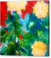 Mums On Red Canvas Print
