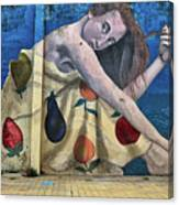 Mural Of A Woman In A Fruit Dress Canvas Print