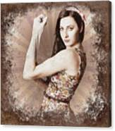 Muscle And Strength Pinup Poster Girl Canvas Print