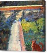 Museum Cat Enters The Picture After Georges Seurat Canvas Print