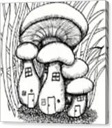 Mushroom Fairy Houses And Grass Canvas Print