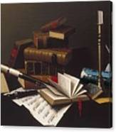 Music And Literature By William Michael Harnett Canvas Print