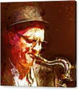 Music - Jazz Sax Player With A Hat Canvas Print