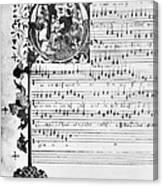 Music Manuscript, 1450 Canvas Print