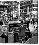 Music On The Boston Common Boston Ma Black And White Canvas Print