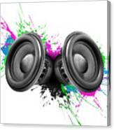 Music Speakers Colorful Design Canvas Print