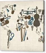 Musical Instruments Map of the World Map Canvas Print