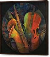 Musical Mandala - Features Cello And Sax's Canvas Print