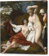 Musidora And Her Two Companions Sacharissa And Amoret At Their Bath Espied By Damon Canvas Print