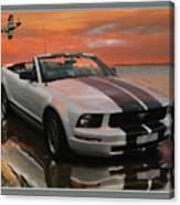 Mustang And Mustang At The Beach Canvas Print