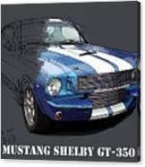 Mustang Shelby Gt-350, Blue And White Classic Car, Gift For Men Canvas Print