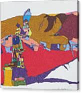 Mustang Tibetan Hawk And Prayer Flags Canvas Print