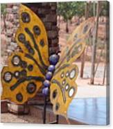 Mustard Yellow Metal Sculpture of Butterfly Canvas Print