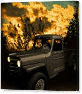 My 51 Willys Jeep Pickup Truck At Sunset Canvas Print