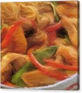 My Green And Red Bell Pepper With Chicken Canvas Print