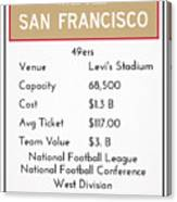 My Nfl San Francisco 49ers Monopoly Card Canvas Print