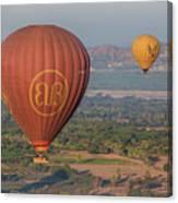 Myanmar. Bagan. Hot Air Balloons. In The Air. Canvas Print
