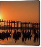 Myanmar. Taungthaman Lake. U Bein Bridge. Sunset. Canvas Print
