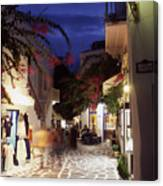 Mykonos Town At Night Canvas Print