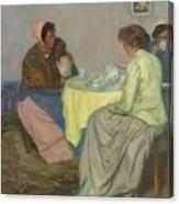 Myron G. Barlow 1873 - 1937 Dutch Women Drinking Coffee Canvas Print