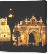 Mysore Palace Main Gate Temple Gloriously Lit At Night Canvas Print