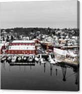 Mystic Seaport In Winter Canvas Print