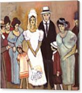Naive Wedding Large Family White Bride Black Groom Red Women Girls Brown Men With Hats And Flowers Canvas Print