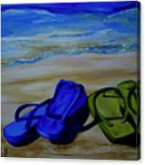 Naked Feet On The Beach Canvas Print
