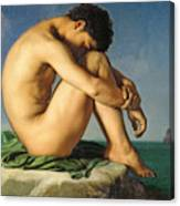 Naked Young Man Sitting By The Sea, 1836 Canvas Print